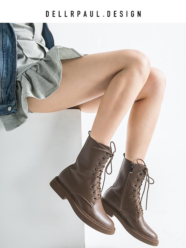 2018秋冬马丁靴女 英伦风 学生韩版百搭系带低跟短靴平底女靴单靴