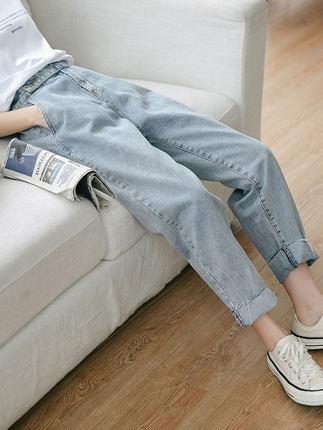 [蜜柚旗舰店牛仔裤]直筒牛仔裤女2019春款 春季新款宽月销量3817件仅售89.9元