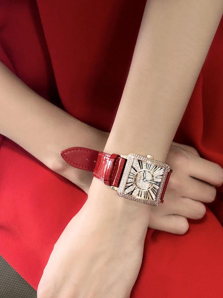 卡罗莱女士手表女表方形满天星镶钻时尚红色真皮带防水大表盘石英