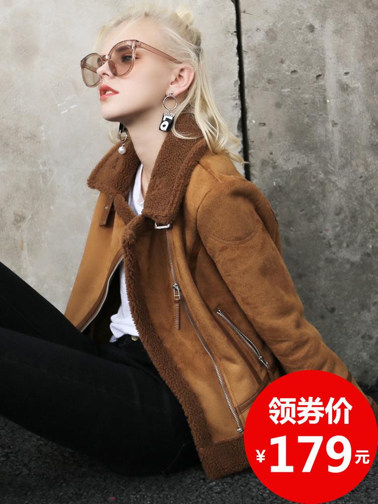 羊羔毛外套女冬季新款机车鹿皮绒韩版皮毛一体加厚棉服秋短款棉衣