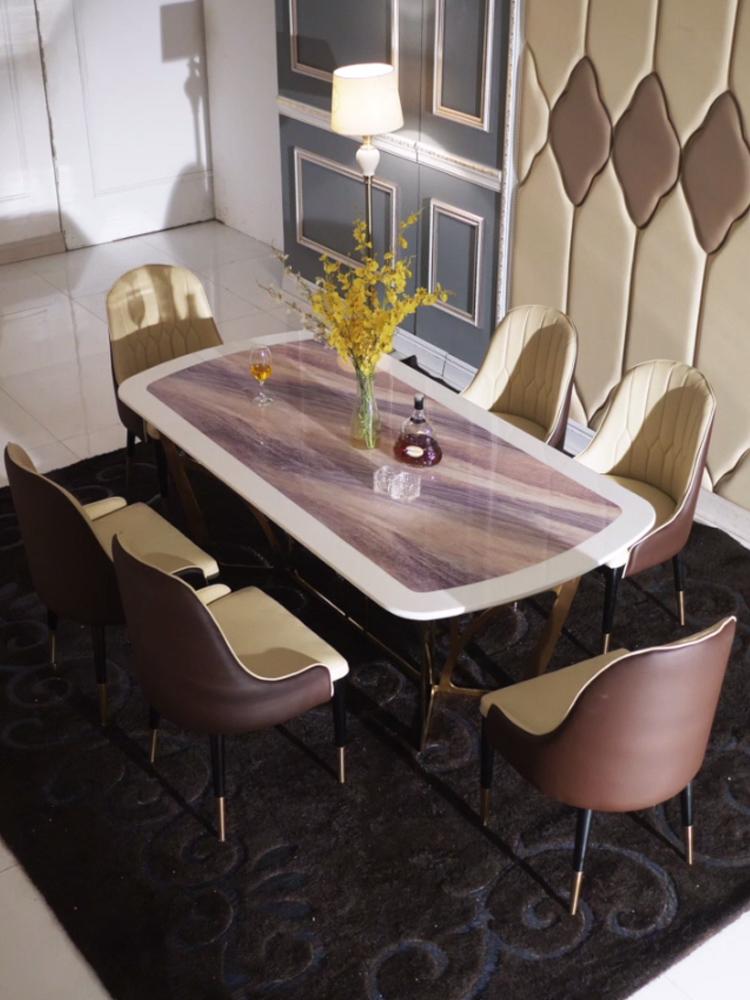 后现代设计轻奢大理石餐桌 不锈钢餐桌椅组合现代简约长方形餐台
