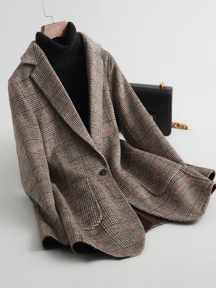 反季清仓羊毛西装双面呢子格子大衣女中长款千鸟格毛呢外套零羊绒