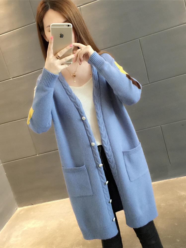 秋装新品2018女装中长款针织衫宽松韩版开衫V领百搭长袖毛衣外套