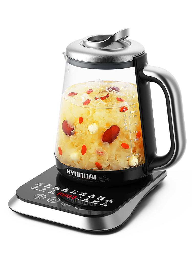 +韩国现代养生壶玻璃电煮茶壶全自动家用多功能烧水壶花茶煮茶器