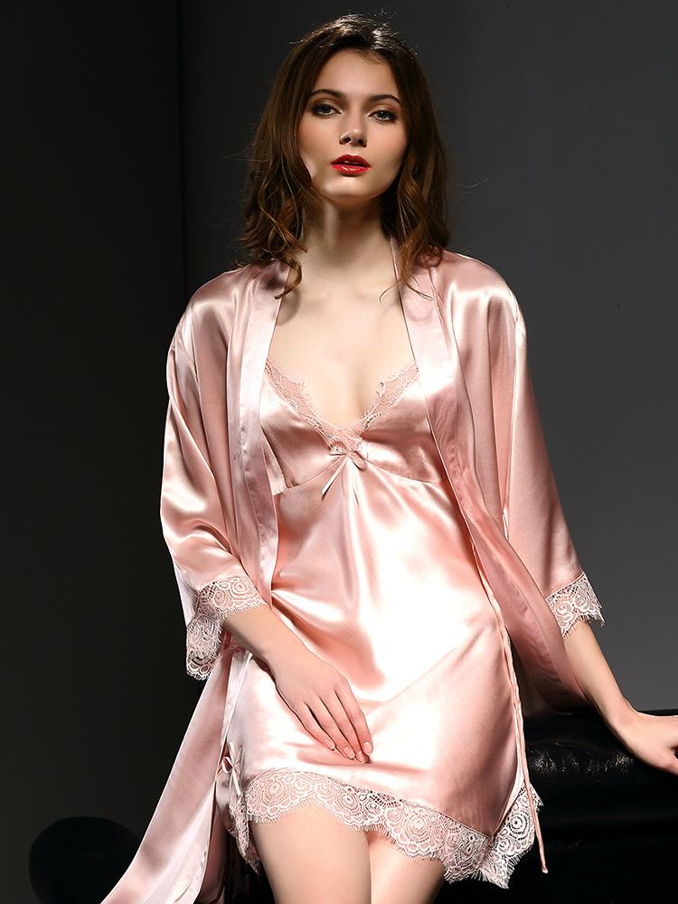 SMR-珊目尔2018新款秋季真丝睡衣女夏睡裙睡袍套装套性感睫毛蕾丝