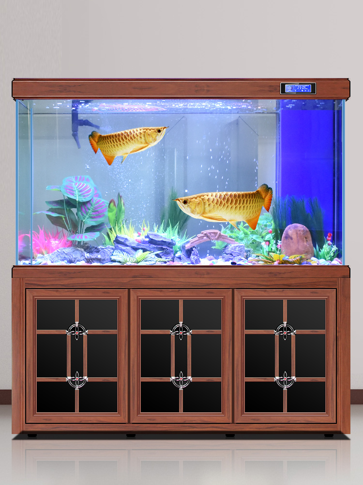 欧宝鱼缸水族箱客厅生态木纹龙鱼缸懒人免换水家用大中型底滤