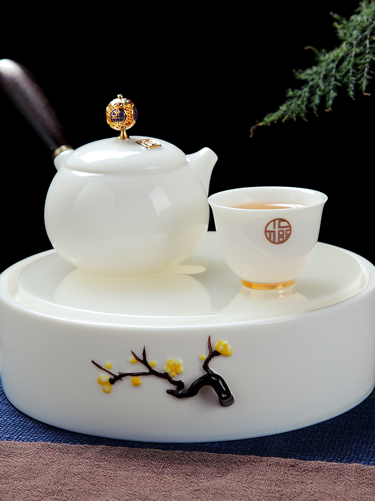 Red the jingdezhen ceramic suet jade white porcelain round pot of tea tray bearing double water tea tray was home plate