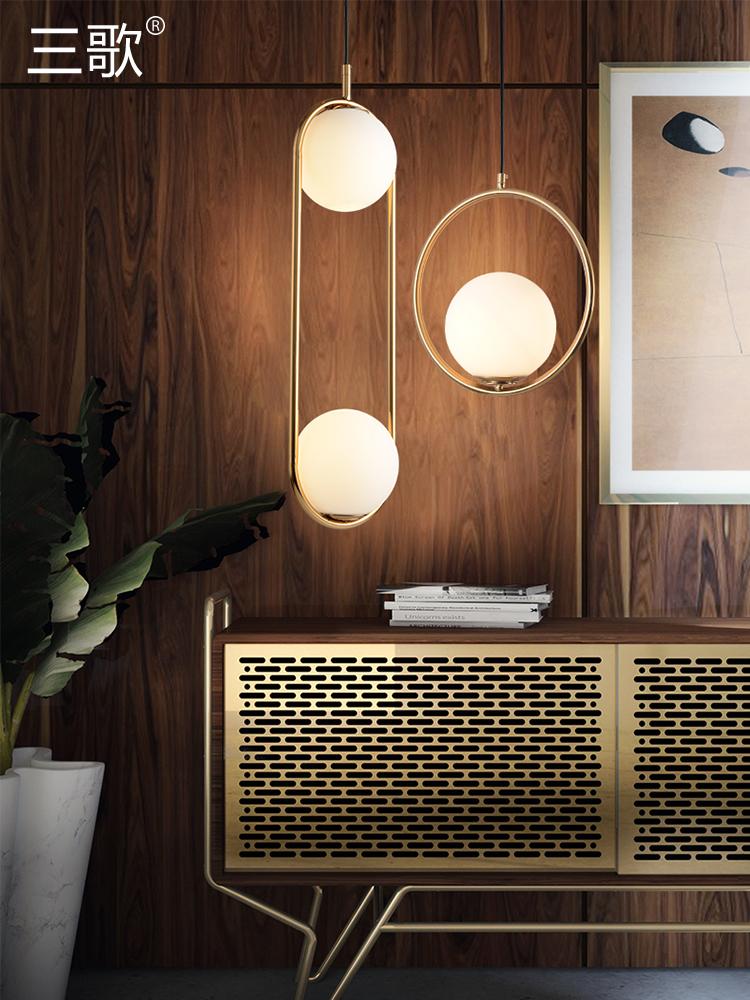 北欧灯具创意个性卧室床头吊灯现代简约餐厅灯三头客厅吧台餐桌灯