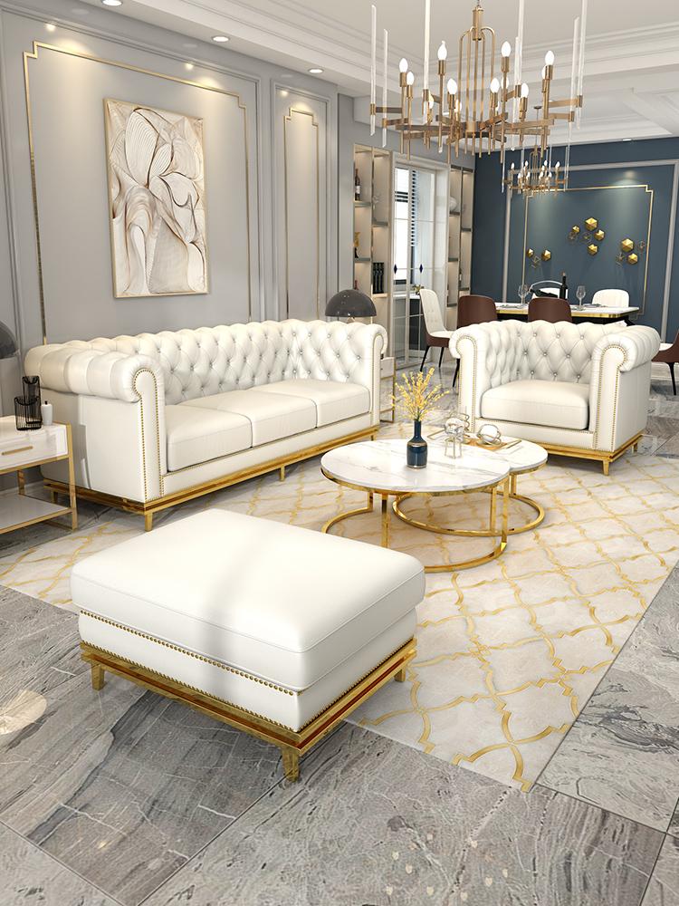 后现代轻奢沙发港式客厅别墅整装皮质三人简约组合小户型真皮美式