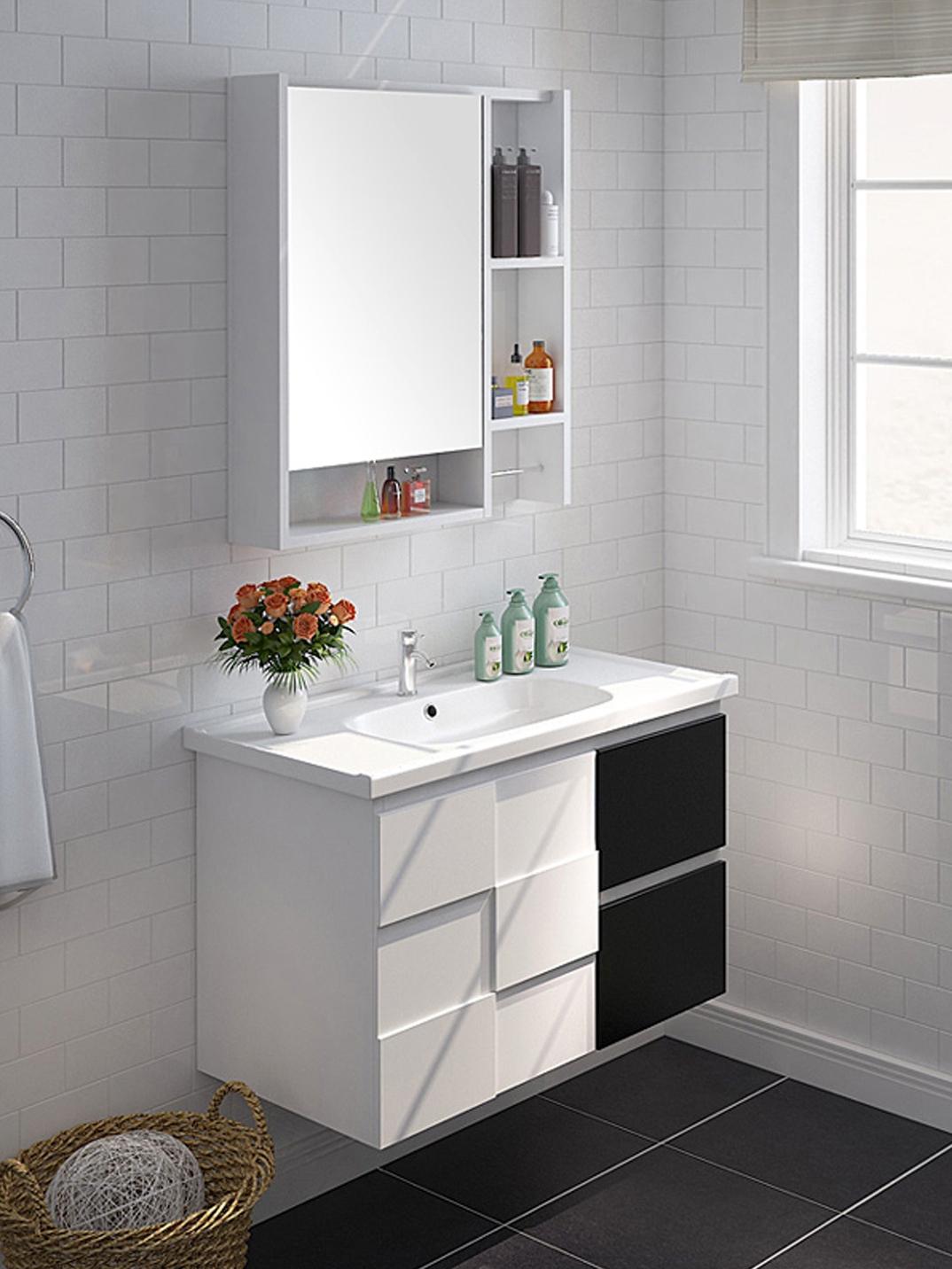 九牧实木现代简约浴室柜洗脸盆柜组合洗漱台卫生间洗手池A2181