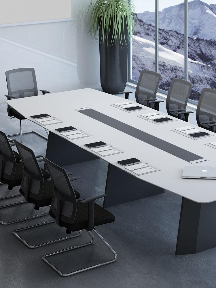 会议桌长条现代办公室小型长桌大型简约桌椅组合谈判条桌烤漆洽谈