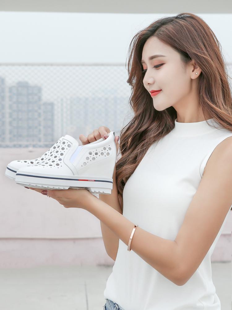 2018夏季新款内增高镂空女鞋8cm真皮休闲小白鞋厚底坡跟单鞋凉鞋