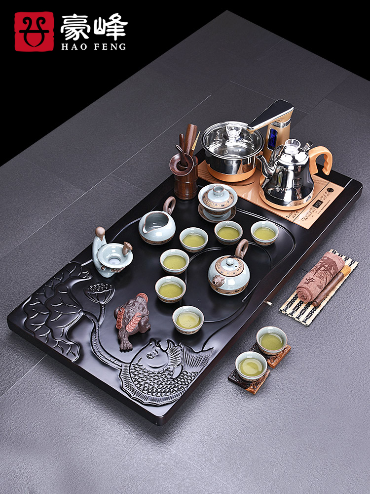 HaoFeng violet arenaceous kung fu tea set household ebony wood tea tray of a complete set of tea tea tea teapot