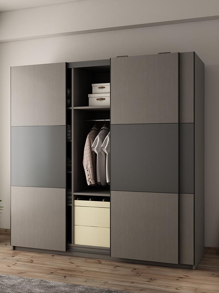 滑门衣柜现代简约移门衣橱推门经济型板式大衣柜北欧推拉门衣柜