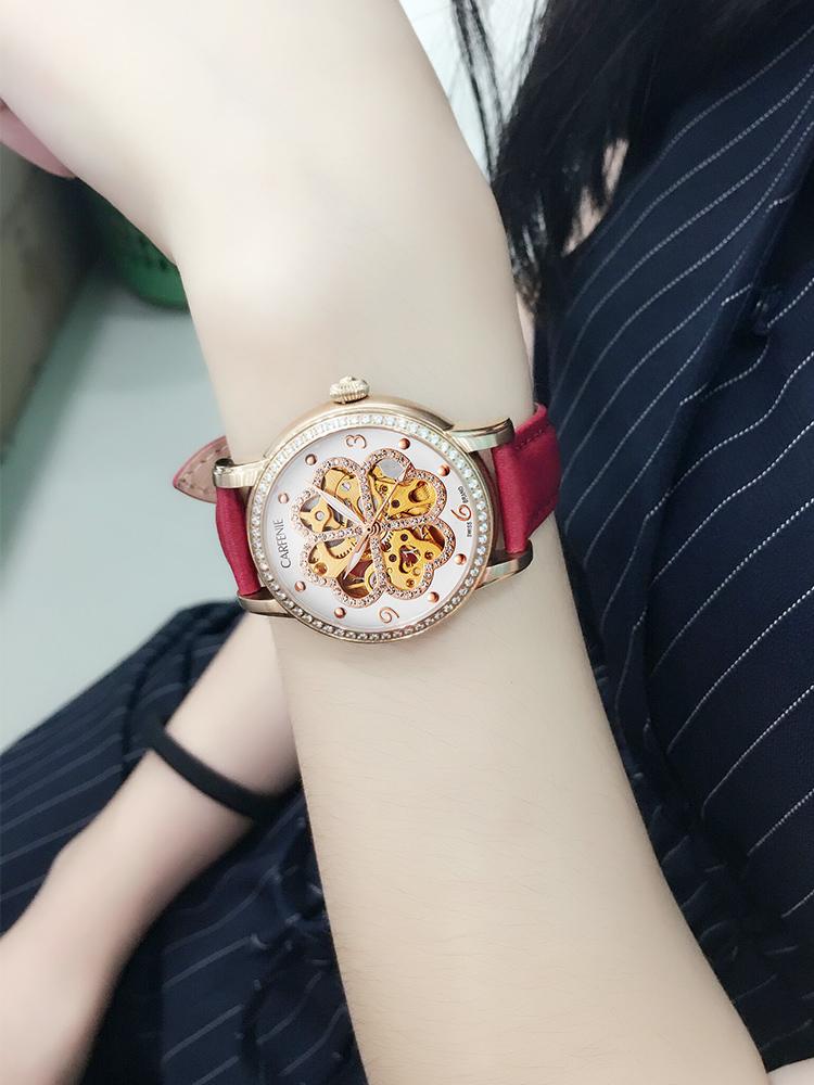 卡芬妮手表女镂空四叶草防水全自动机械表皮带时尚女士手表正品