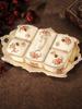 欧式干果盘陶瓷分格带盖创意干果盒糖果瓜子零食盘客厅水果盘家用
