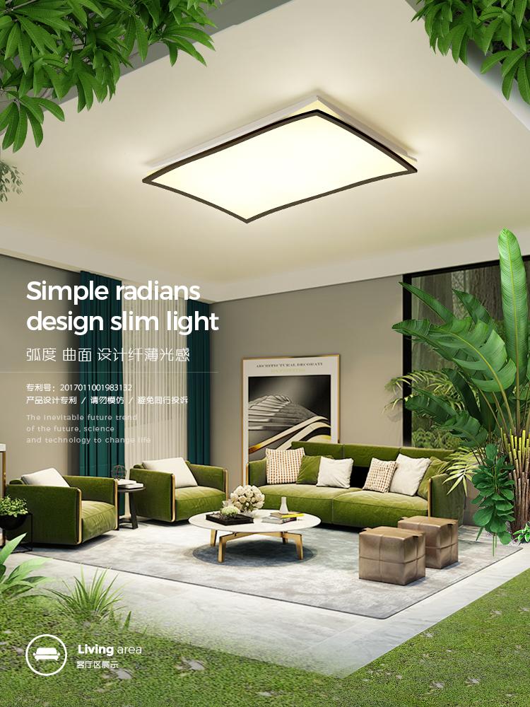 客厅灯 长方形简约现代大气新款曲面led吸顶灯创意个性家用灯具