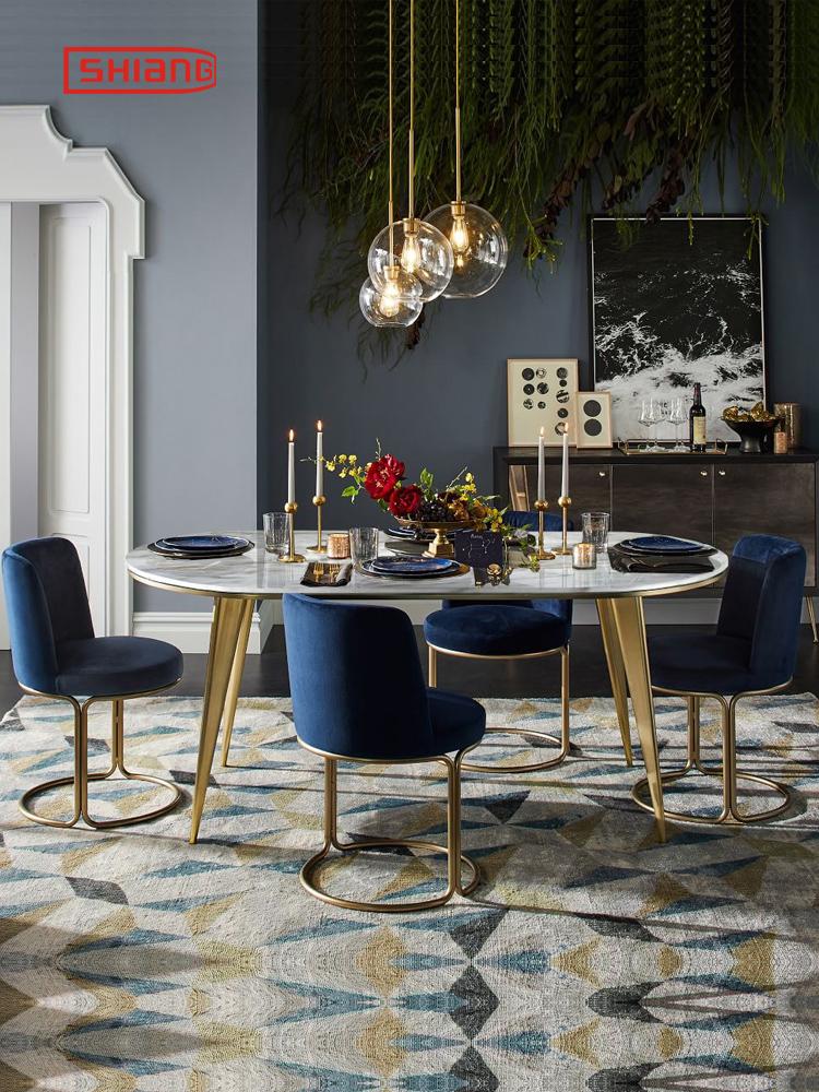 北欧大理石餐桌椅组合圆形吃饭桌椅不锈钢小户型小圆桌简约轻奢风