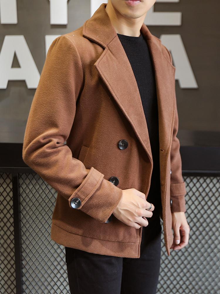 男士短款风衣2018秋冬英伦双排扣毛呢外套男韩版帅气呢子夹克休闲