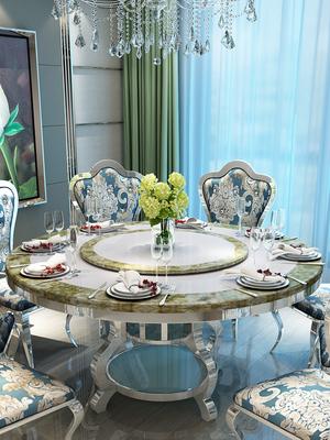 祥冠現代大理石不銹鋼餐桌椅組合翡翠綠大理石圓形餐桌帶轉盤餐廳