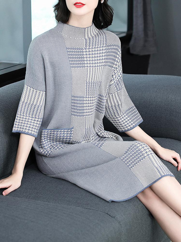 女装2018秋装新款千鸟格时尚宽松七分袖针织裙子毛衣连衣裙中长款