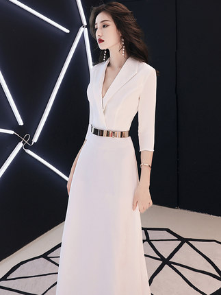 Evening Dress skirt female 2018 new long white dignified atmosphere noble elegant slimming banquet dinner host