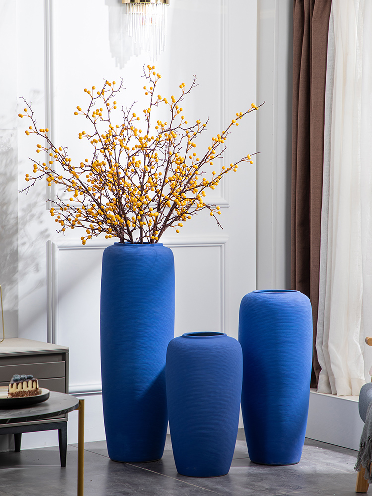 Jingdezhen landing big vase blue flower arranging simulation of I and contracted sitting room adornment suit European large bottle