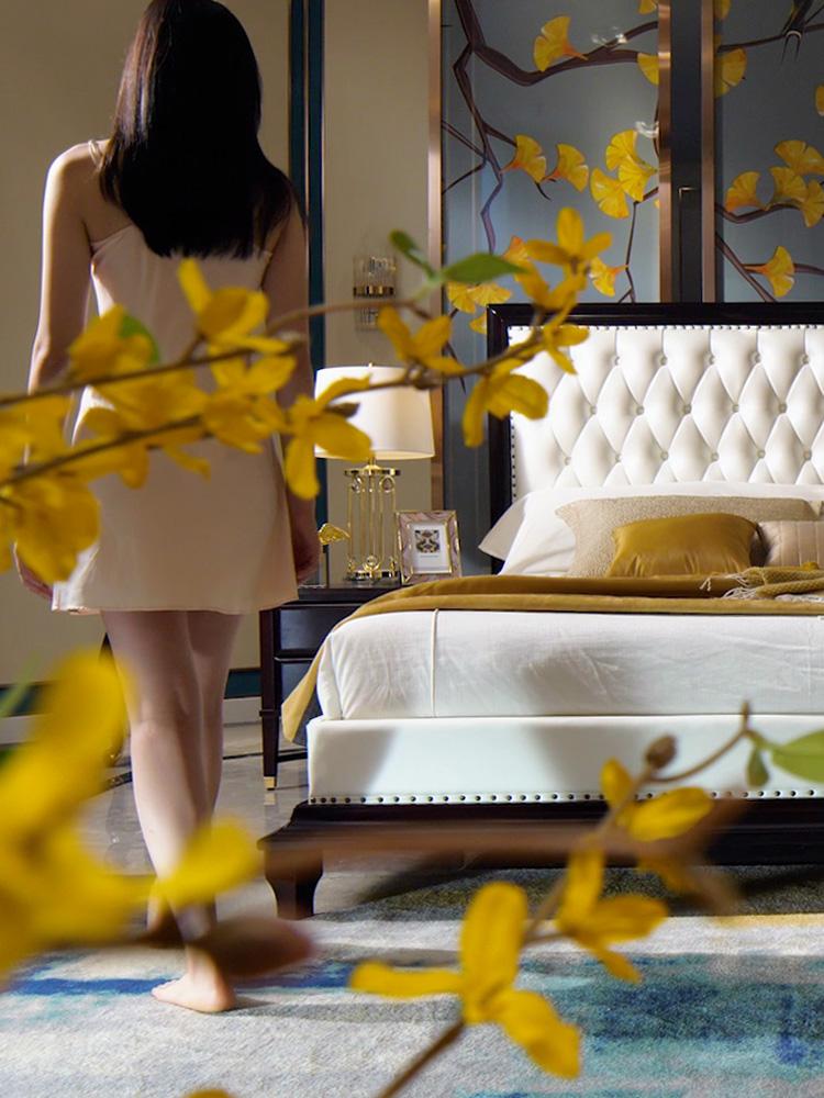 享之美 美式床实木床1.8米主卧加宽大床2米2.2米后现代床轻奢家具