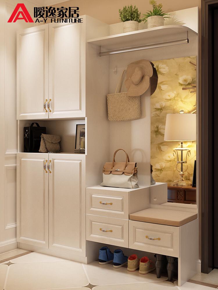 鞋柜简约现代门厅柜多功能玄关柜客厅隔断柜进门衣帽组合带换鞋凳