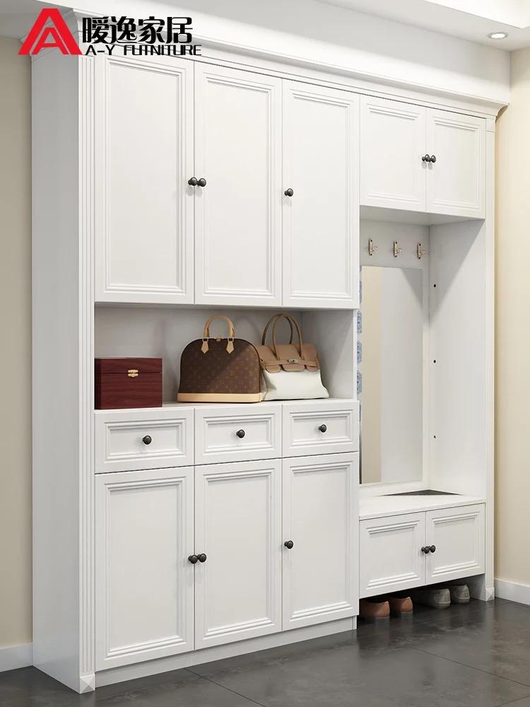 简约现代鞋柜门厅柜入户衣帽柜带换鞋凳玄关柜欧式储物柜定制隔断