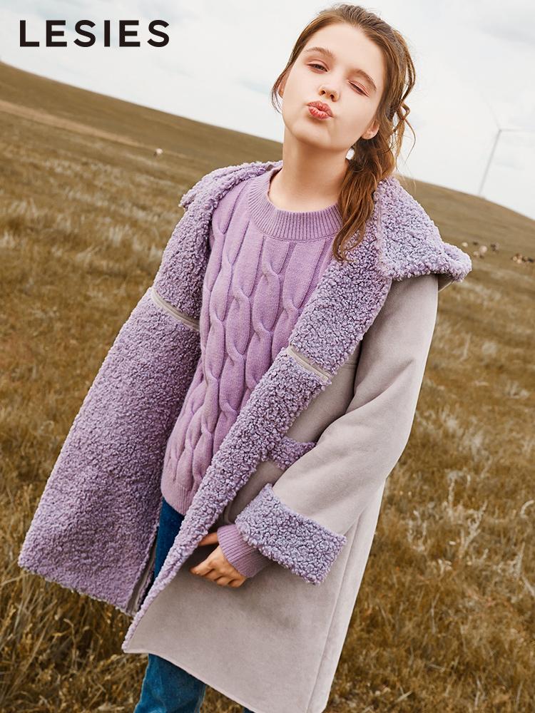 蓝色倾情冬季新款2018流行女紫色中长款赫本风加厚麂皮绒大衣外套