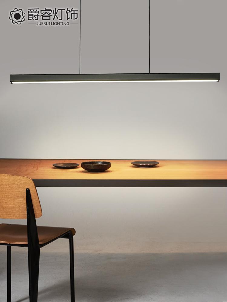 北欧吊灯餐厅灯饭厅长餐桌吧台LED现代简约创意办公目木餐厅灯具