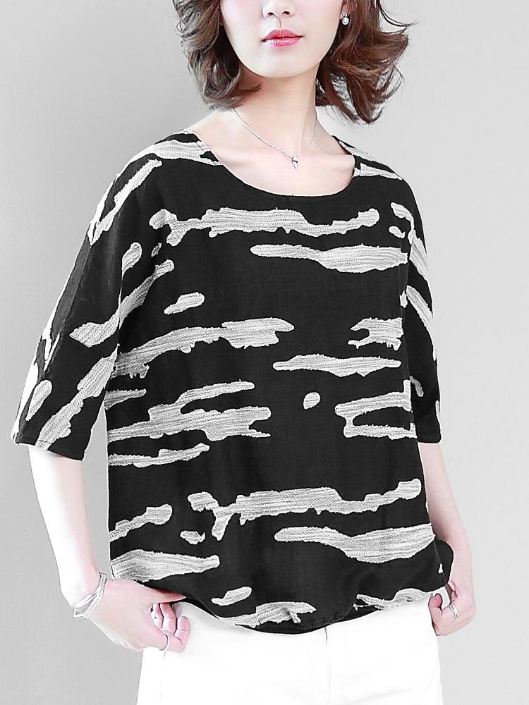 棉麻T恤女短袖体恤2018夏装新款韩版宽松大码30-40妈妈亚麻料上衣