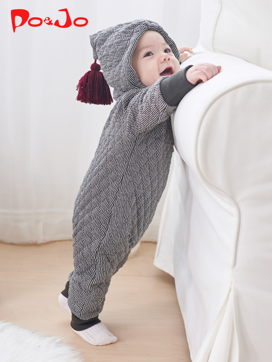 皮偌乔秋冬装新款婴儿衣服宝宝新生儿连体衣哈衣外出服抱衣服潮服