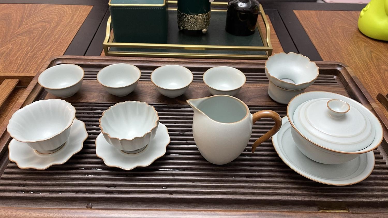 汝窑盖碗茶杯单个大号泡茶碗景德镇汝瓷三才杯手工陶瓷茶具冰裂釉