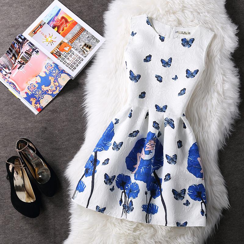 蓝实拍色香服饰2016春夏通勤印花连衣裙无袖甜美A字裙