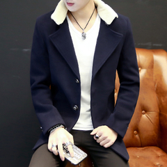 冬季,风衣,男士,长款,修身,韩版,呢子,外套,2017,新款,帅气,潮流,大衣,男装,蓝色