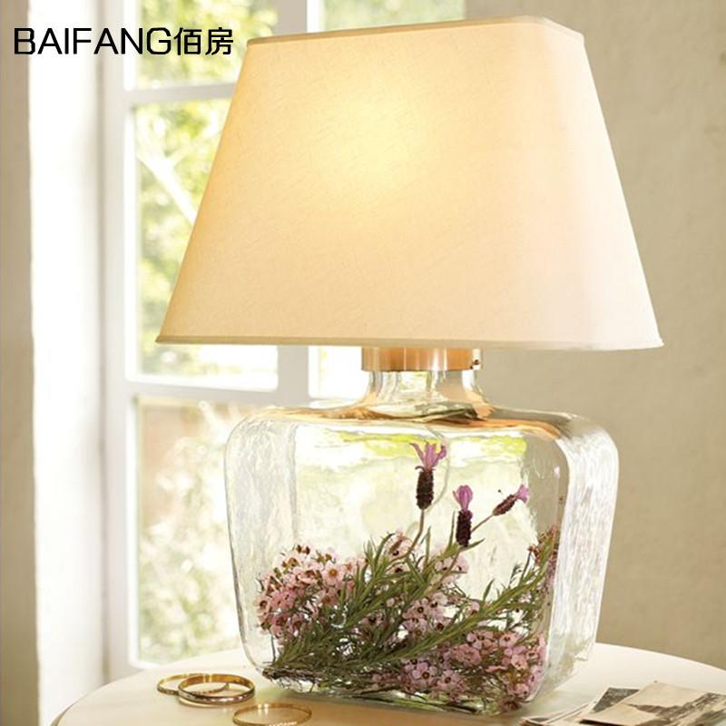 佰房灯饰美式布艺方形玻璃布罩大台灯T3035