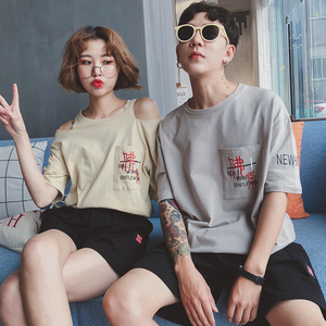 实拍8106#新款印花T恤裤子套装情侣装(单套价格)