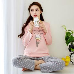 韩版棉睡衣女款春秋冬季长袖可爱卡通 可外穿睡衣少女家居服套装