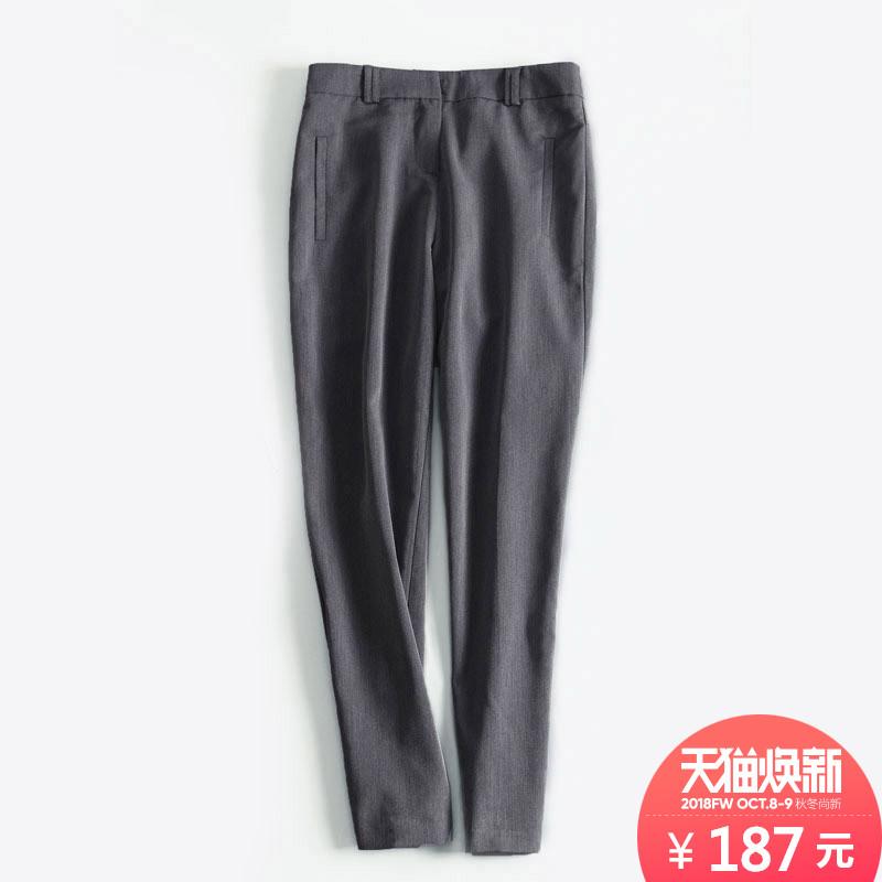 IUMI日系 干练西装裤女直筒九分裤灰色休闲裤子女夏薄款显瘦