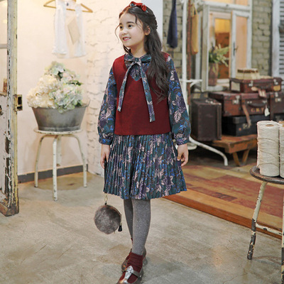 2017 autumn new children's clothing children girls in large children's vintage wool vest fashion wild sweater vest