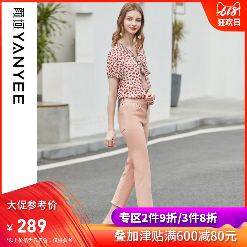 Yan domain women's bow short-sleeved chiffon shirt shirt summer 2019 New loose wave small floral shirt female