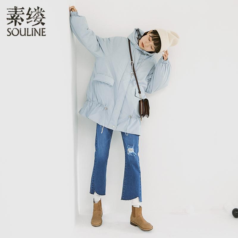 素缕冬装女2018新款文艺轻薄连帽宽松白鸭绒羽绒服中长OSV8402芠