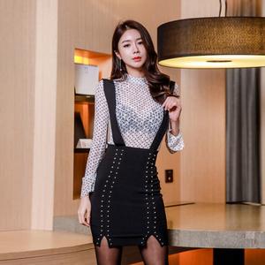 【高档女装】9130#新款两件套 背带裙  套装 蕾丝打底衫...