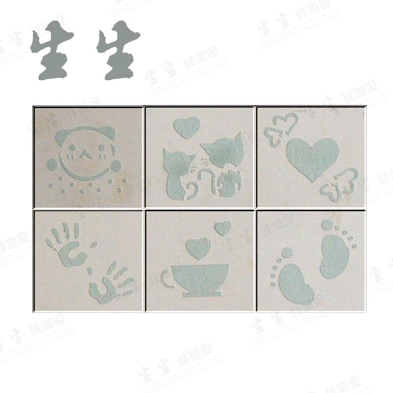 生生硅藻泥PVC镂空模具模板 波斯猫爱心脚丫手掌咖啡小熊星星月亮