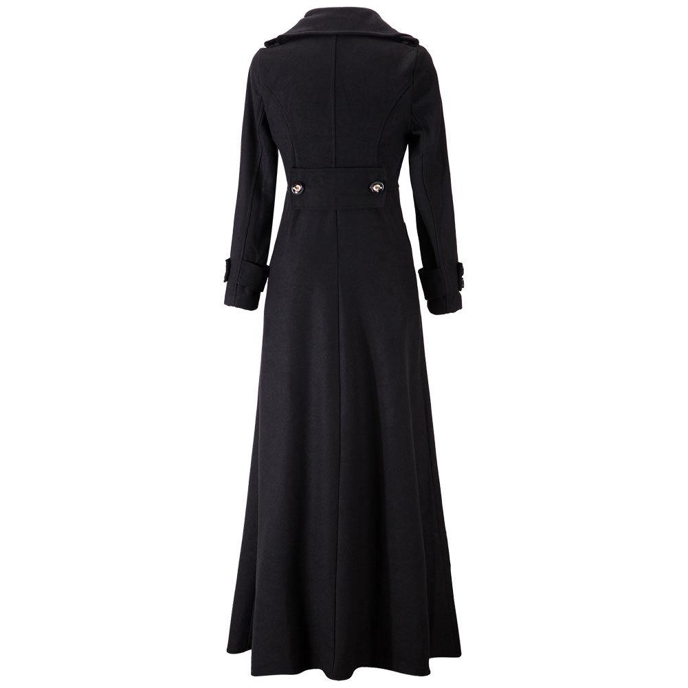 winter women long trench coat slim wool overcoat ladies single button long jacke ebay. Black Bedroom Furniture Sets. Home Design Ideas