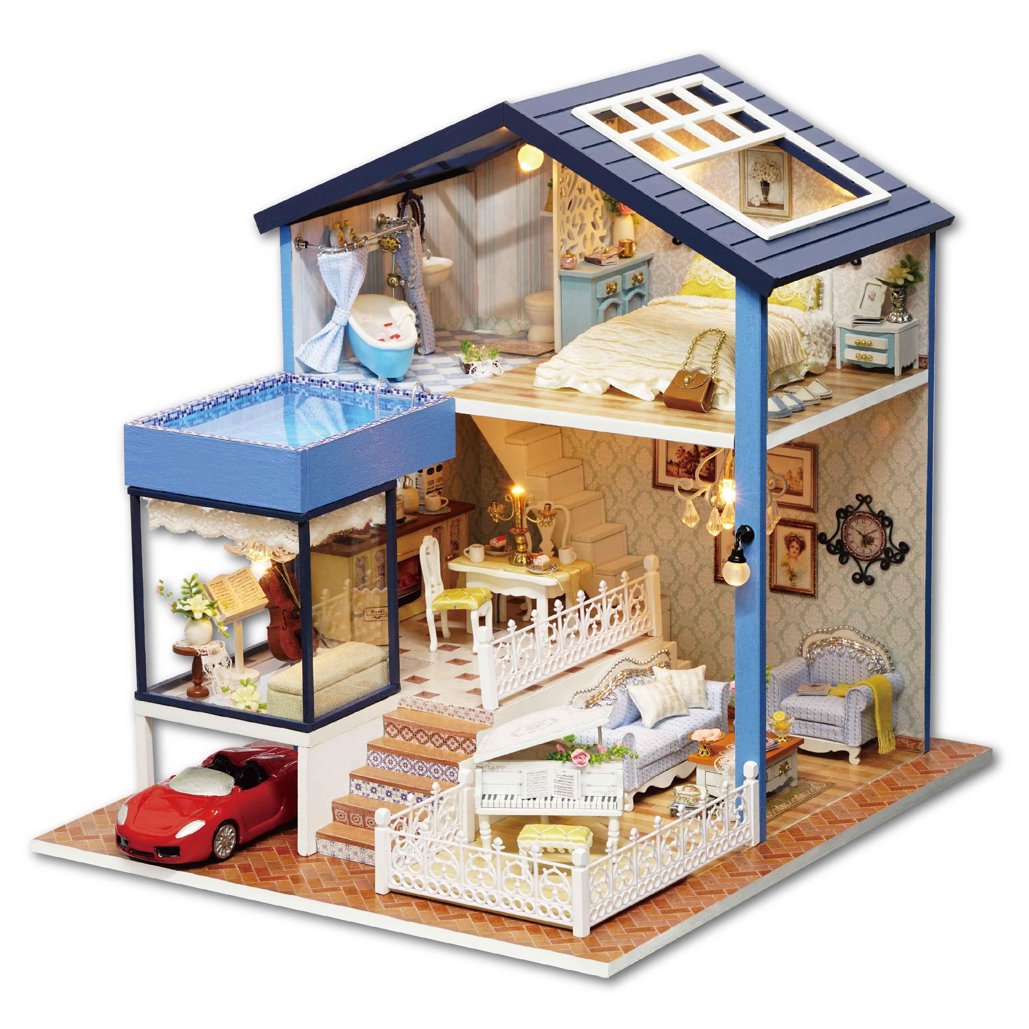 智趣屋diy小屋西雅图别墅 手工制作小房子拼装建筑模型玩具礼物