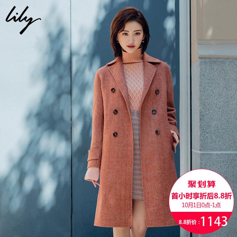 Lily2018秋新款女装直筒长款毛呢外套双面呢大衣女