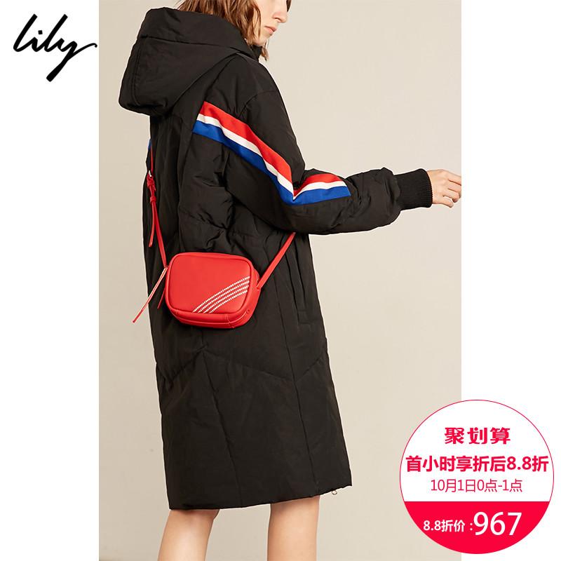 Lily2018冬新款女装红蓝撞色条纹中长款连帽羽绒服118419D1E02